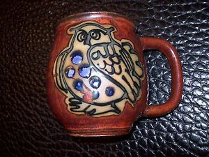 Hand Painted Ceramic Owl Coffee Mug Tea Cup China Tableware Wood Color Design