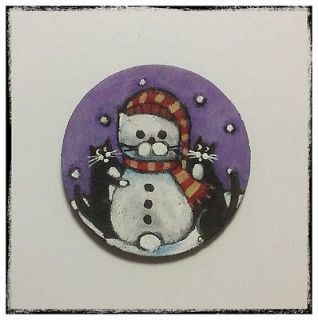 Tuxedo Cat Snowman Purple Folk Art Original Hand Painted Fridge Magnet Painting