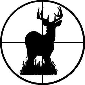 Black Vinyl Decal Deer Buck Scope Gun Target Hunt Hunting Sticker Fun Truck
