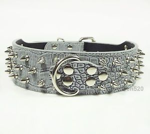 Grey Leather Spiked Horn Dog Collars for Pit Bull Terrier Collars