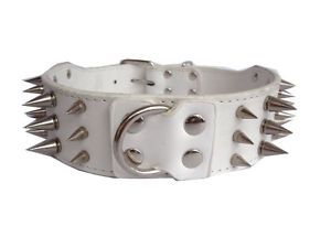 2inch Wide White Leather Spiked Studded Dog Collars Pit Bull Dog Terrier Collars
