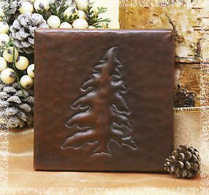 Copper Tile Accents Hammered Pine Tree 4x4 Use Regular Thinset Grout TL305