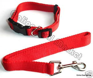 Brand New Dog Puppy Pet Leash Collar Set Combo Matching Adjustable Red
