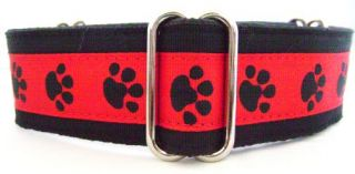 "1 5"" Red Black Pawprint Fancy Martingale Dog Collar Medium 13 18"" Greyhounds"