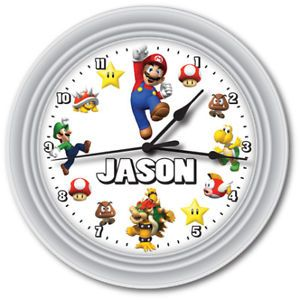 Personalized Super Mario Bros Game Wall Clock Gift