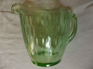 Green Depression Glass Water Pitcher