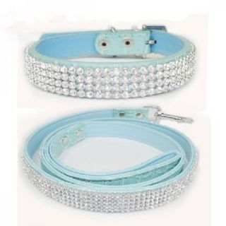 New Bling Rhinestone Crystal Jeweled PU Leather Pet Cat Dog Collar Leash Set