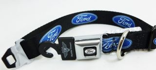 Ford Blue Oval Logo Seat Belt Buckle Style Dog Collars or Leash 4 Sizes