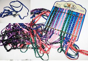Wholesale Lot Dog Puppy Bone Paw Print Harness Pet Leash Collar Accessories New