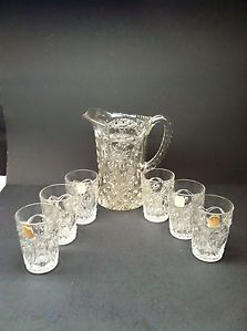 Imperial Carnival Glass Water Set Pitcher Tumberls 474 Pattern Crystal New Look