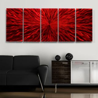 "Modern Metal Abstract Wall Art Painting Red Sculpture Decor Jon Allen 64""X24"""