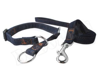 "13 21"" Blue Jean Dog Collar 4ft Matching Leash Durable Medium Large"
