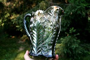 Imperial Tiger Lilly Antique Carnival Glass Water Pitcher Green Fantastic Piece