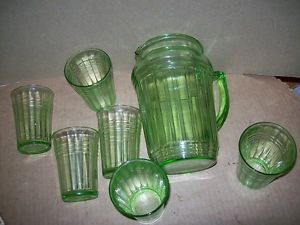Green Depression Glass Water Pitcher Tumbler Set