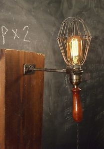 Vintage Industrial Cage Light with Wall Mount Machine Age Trouble Lamp Sconce