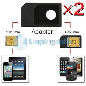 2 x Micro Sim Card Adapter Accessory for Verizon ATT iPhone 4 4G 4S HD G iPad 3G
