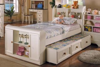 Cream Bayside Youth Twin Bookcase Bed Storage Trundle