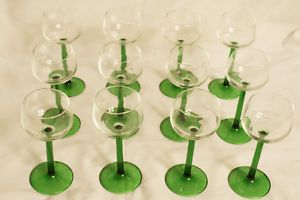 12 French Luminarc Emerald Green Stem 6oz Glass Water Wine Goblets Glasses Franc