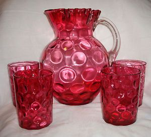 Vintage Fenton Glass Cranberry Ruby Overlay Thumbprint Water Pitcher Tumbler Set