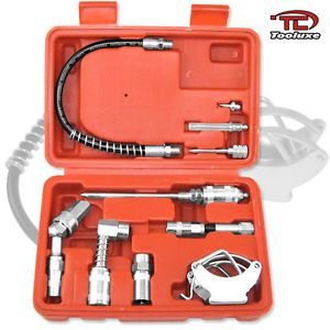 Grease Gun Kit Extra Zerk Fittings Nozzles Hoses Swivel Couplers Needle Adapters