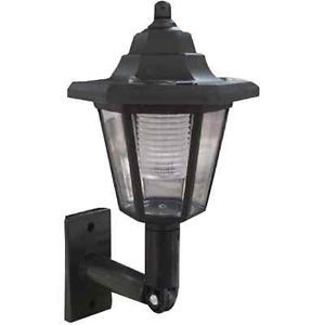 Black Outdoor Solar Power Wall Mount Light Lantern New