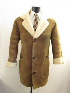 Mens Vtg 1960s Brown Real Sheepskin Fleece Leather Winter Coat Jacket Medium 40