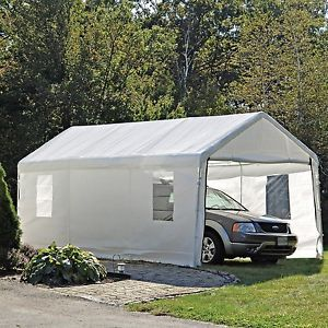 ShelterLogic White Enclosed Car Truck Canopy Tent Shade Cover Kit with Windows