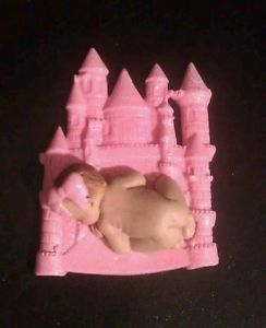 Fondant Edible Pink Castle Cake Topper Favors Decorations Baby Shower Birthday