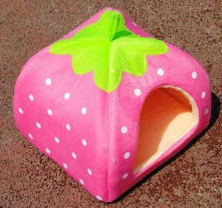 Soft Strawberry Pet Dog Cat Bed House Kennel Doggy Warm Cushion Basket 4 Color