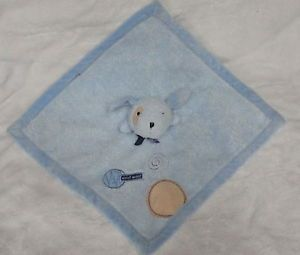 Carters Woof Woof Blue Puppy Dog Security Blanket Tan Spot Satin Baby Toy