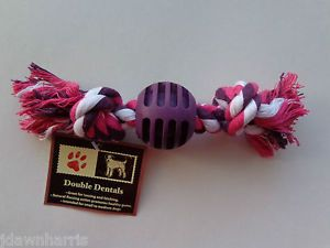 Dog Pet Double Dentals Purple Rubber Rope Bone Chew Tug Toy New Tags