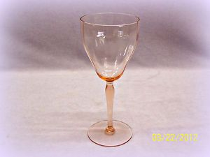 Vintage Pink Depression Glass Optic Panel Long Stemmed Wine Glass