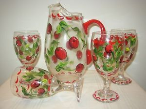 Hand Painted Goblets Wine Glasses Pitcher Cherries