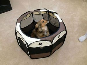 Pet Playpen Dog Play Pen Exercise Puppy Pen Folding Design Easy Storage Portable