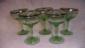 Green Depression Glass Goblets