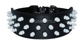 Black Leather Dog Collar Red Pink White Spikes Pit Bull All Sizes Bully Terrier