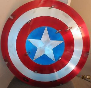 Captain America Shield 26'' Battle with 10'' Star Movie Prop Metal Aluminum
