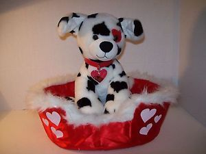 Build A Bear Dalmatian Puppy Dog Red Collar w Heart Confetti Red Satin Dog Bed