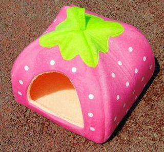 Pink L Soft Strawberry Pet Dog Cat Bed House Kennel Doggy Warm Cushion Basket