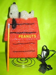 "11"" Red Snoopy Dog House Child Night Light Table Lamp Red Peanuts"