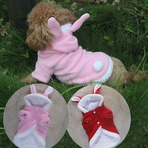 Pink Red Fleece Bunny Rabbit Dog Costumes Hoodie Coats Dog Clothes Pet Supplies