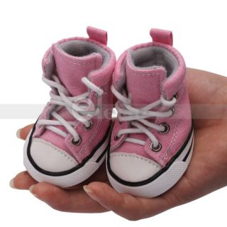 No 5 Pink Pet Dog Puppy Shoes Canvas Shoes Boots Sport Sneakers Rubber Sole