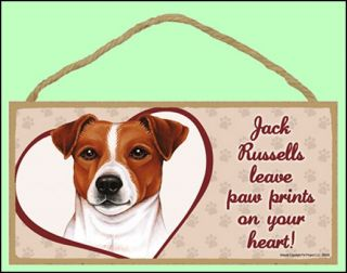 Jack Russells Leave Paw Prints on Your Heart Wooden Dog Sign