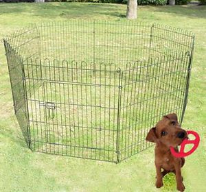 "New Large 30"" Black Pet Dog Puppy Wire Play Pen Exercise Fence Black"