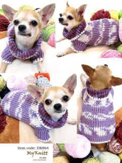XXS XS Handmade Crochet Dog Doggie Shirt Clothes Sweater D864 Chihuahua Poodle