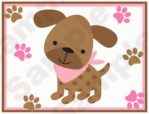 Pink Puppies Puppy Dog Paw Prints Baby Girl Nursery Wall Border Stickers Decals