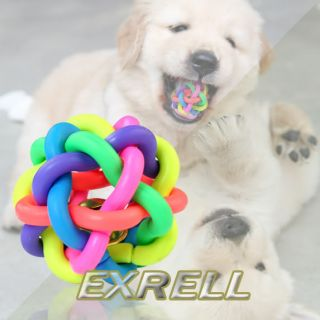 Dog Puppy Cat Pet Rainbow Colorful Rubber Sound Round Ball Bell Fun Playing Toys