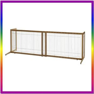 New Richell Také Bamboo Freestanding Expandable Pet Dog Gate Door Fence R94180
