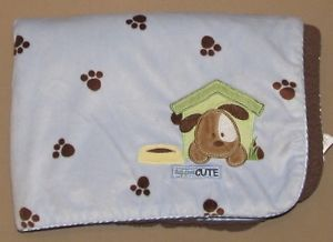 Carters Just One Year Blue Brown Dog Gone Cute Puppy Baby Blanket Paws Dog House