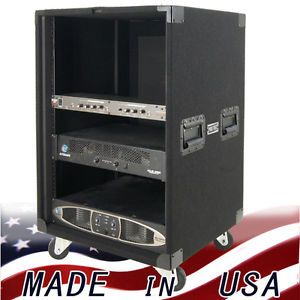 Amp Rack 16 U Space on Casters for Power Amplifiers Heavy Duty